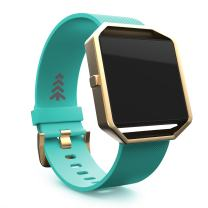 Teak - Silicone Replacement Wristband for Fitbit Blaze - Large Teal and Gold