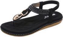 PPXID Women's Slingback T-Strap Flip Flop Bohemian Glitter Prime Thong Sandals