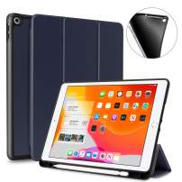 iPad 10.2 inch Case with Pencil Holder, DONWELL Full Body Shockproof Kickstand Trifolding Stand Case Cover with Auto Wake & Sleep Function for iPad 10.2 / iPad 7th Generation/iPad 7 2019 (Blue)