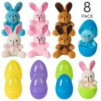 Easter Eggs 8 PCs Filled with Plush Bunny-Colorful Easter Eggs Toys for Kids Party Favors Surprise Gifts