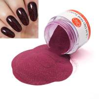 Dark Red Glitter Nail Dipping Powder 1 Ounce/28g (added vitamin) I.B.N Dip Powder Colors, No UV LED Lamp Required (DIP 052)