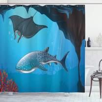 "Ambesonne Shark Shower Curtain, Shark Deep Water Stingray with Coral Reefs Algae Rocky Cave Exotic Cartoon Style Art, Cloth Fabric Bathroom Decor Set with Hooks, 75"" Long, Blue Grey"