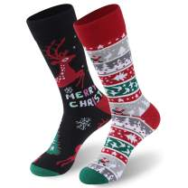 CLANDY Christmas Socks,Unisex Adult Kids Novelty Holiday Cotton Gift Socks 1-6 Pairs S/M/L