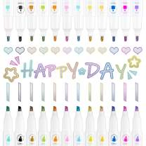 Whaline Double Line Outline Pens Dual Tip Metallic Markers Self-Outline 12 Colors Doodle Dazzle Pens Writing Drawing for Eater Egg Christmas Card Writing Birthday Greeting Scrap Booking DIY Art Craft