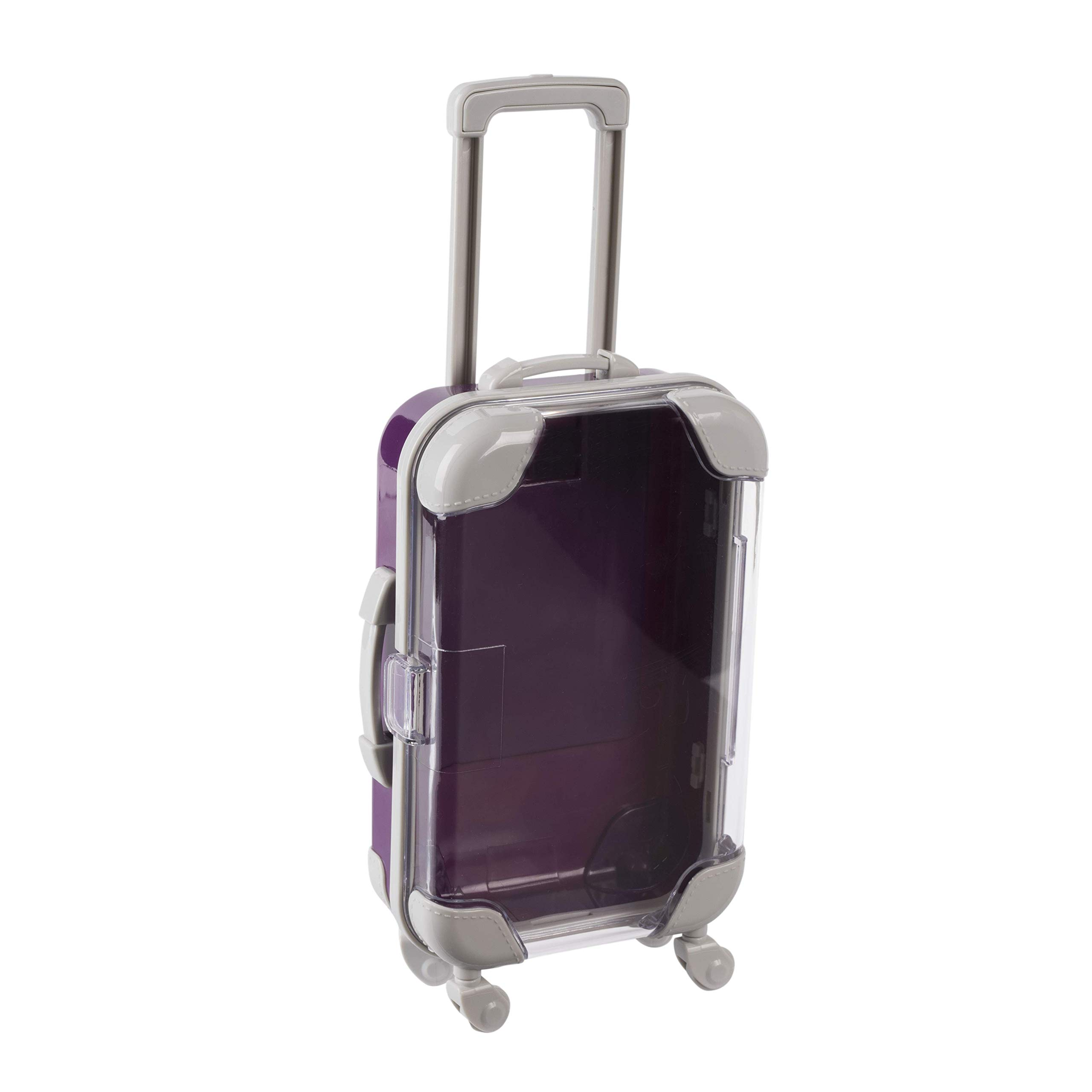 "Hammont Mini Suitcase Candy Box – Miniature Plastic Rolling Suitcase with Transparent Lid | Perfect for Travel Theme Parties and Celebrations | 5.5"" x 3.5"" x 1.5"" (Pack of 4) (Purple)"