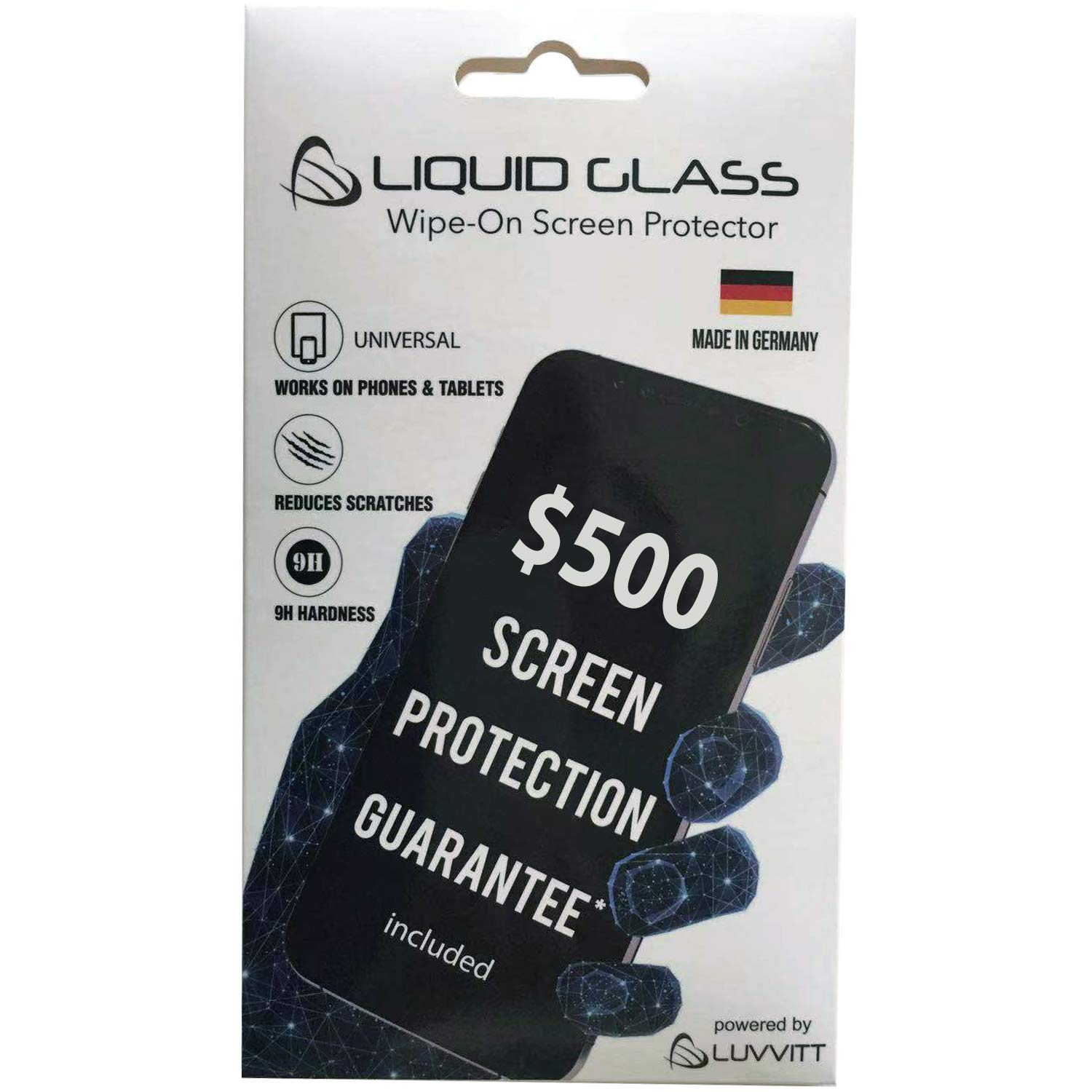 Liquid Glass Screen Protector with $500 Warranty - Scratch Resistant Wipe On Nano Coating Protection for All Apple Samsung and Other Phones Tablets Smart Watch iPhone iPad Galaxy and More