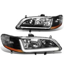 DNA Motoring LED DRL Front Bumper Headlight/Lamps Replacement, Black amber