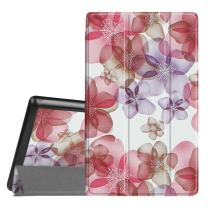 Fintie Slim Case for Amazon Fire HD 8 Tablet (7th and 8th Generation Tablets, 2017 and 2018 Releases), Ultra Lightweight Slim Shell Standing Cover with Auto Wake/Sleep, Silk Flowers