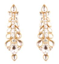 Touchstone Hollywood Glamour Grand Classy Designer Wedding Jewelry Earrings in Antique Gold Tone for Women
