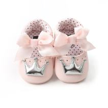 Meckior Infant Baby Girls Crown Mary Jane Soft Sole Bowknot Princess Shoes Newborn Prewalker Wedding Dress Flats Toddler Sneaker