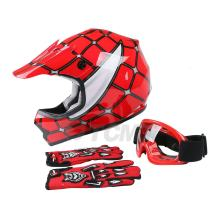 TCMT Dot Youth & Kids Motocross Offroad Street Helmet Red Spider Motorcycle Youth Helmet Dirt Bike Motocross ATV Helmet+Goggles+Gloves M