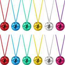 12 Pieces Assorted Color Disco Ball Necklaces 70s Disco Party Necklaces for Christmas Party Favors,Home Decorations, Stage Props, School Festivals and Costume Accessories