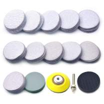 "120PCS 2 Inch Sanding Discs for Drill Grinder Rotary Tools 2"" Hook and Loop White Dry Sandpaper P60 - P3000 Multi Grit with 1/4 Inch Sanding Pad + Soft Buffering Pad, by POLIWELL"