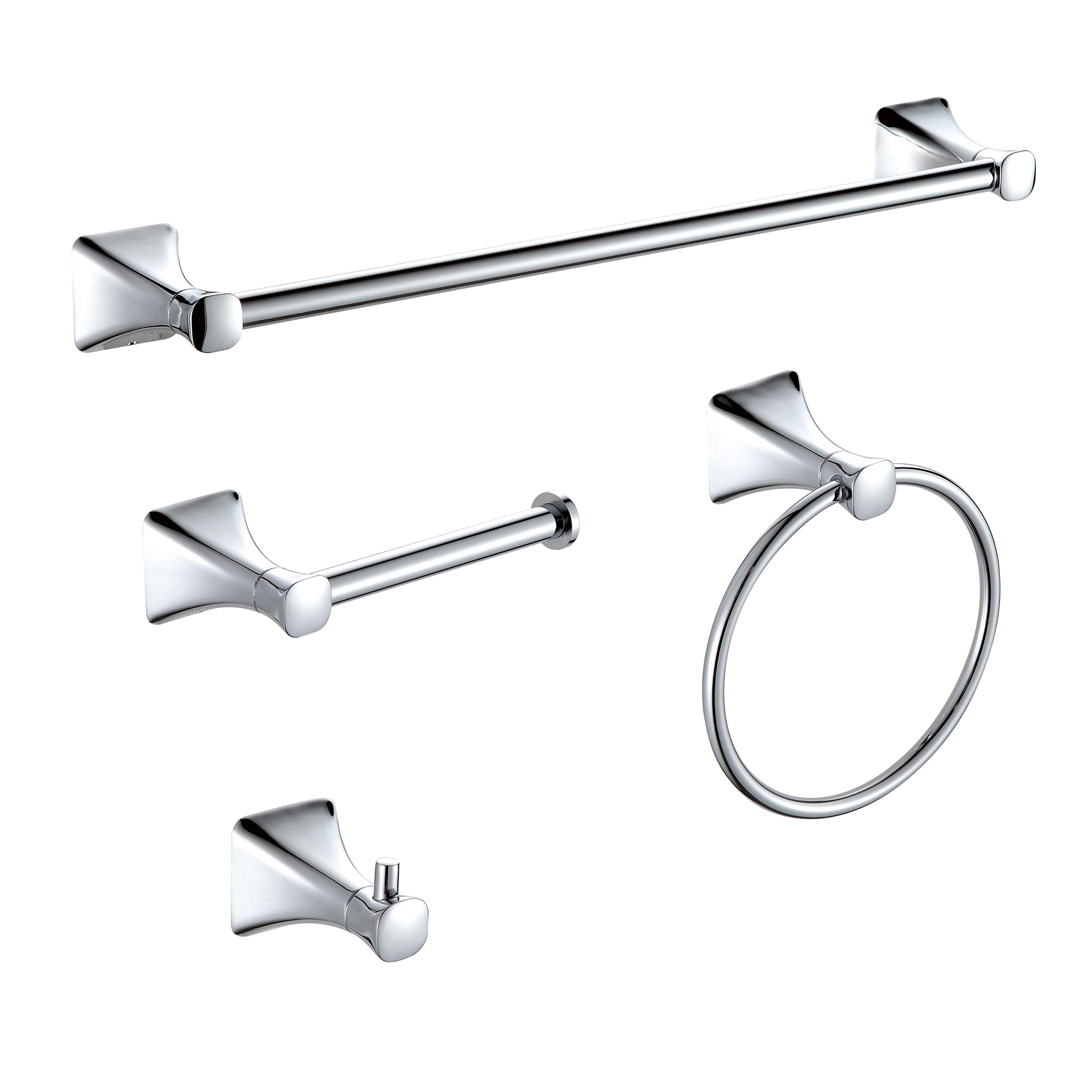 "KAIIY 4-Pieces Chrome Bathroom Hardware Set Round Wall Mounted - Includes 18"" Towel Bar, Toilet Paper Holder, Robe Towel Hooks, Bathroom Accessories Kit"