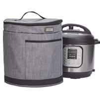 HOMEST 2 Compartments Dust Cover Compatible with Instant Pot 8 Quart, These Pressure Cooker Cover Have Accessory Pockets for Spoon, Measuring Cup, Steam Rack, 3 Cover Sizes, Grey (Patent Pending)
