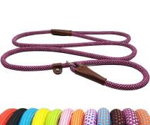 "BTINESFUL 5FT Durable Slip Lead Rope Dog Leash, No Pull Nylon Training Leash for Medium Large Dogs, 1/2"" X 5', Purple-White Dot"
