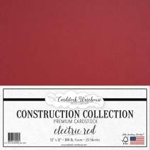 Electric Red Cardstock Paper - 12 x 12 inch Premium 100 LB. Cover from - 25 Sheets from Cardstock Warehouse