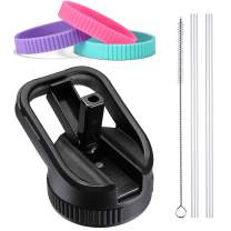 Vmini Wide Mouth Straw Lid Compatible with Hydro Flask Wide Mouth and Most Sports Water Bottle, Included Straws, Brush and Different Rubber Rings