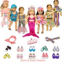 iBayda Total 22pc/Set Include 7 Sets Doll Clothes and 2 Pair Shoes Accessories for 18 inch American Girl Doll ,Our Generation Doll, 43 cm New Born Baby Dolls