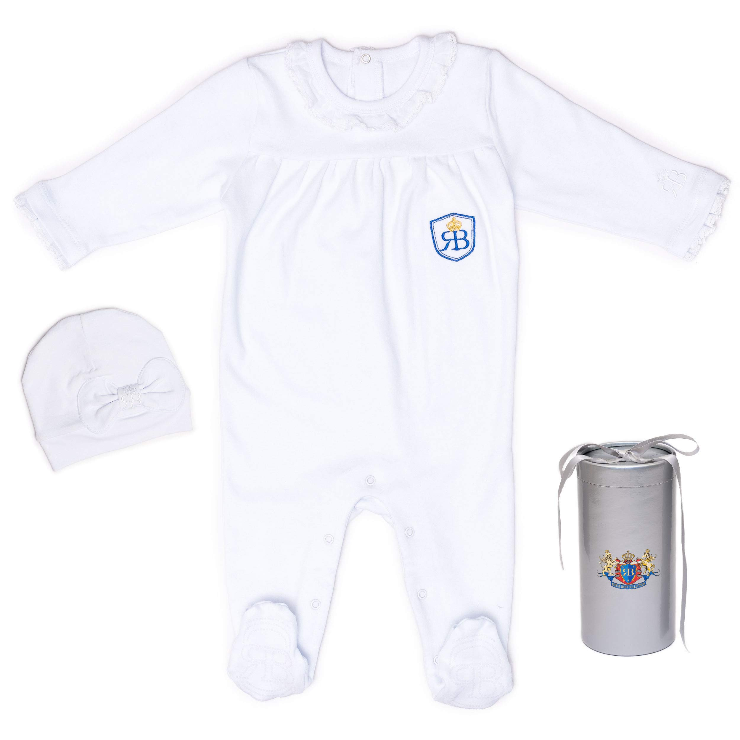 RB Royal Baby Organic Cotton Sleeve Footed Overall, Sleep N Play Pajama 2 Piece Footie and Hat in Gift Box (LittleM) White