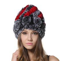 MEEFUR Women's Genuine Rex Rabbit Fur Hats Flower Real Fur Knitted Beanies Winter Warm Skullies Caps Multicolored