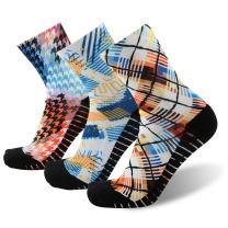 MK MEIKAN Unisex Crazy Digital Printing Athletic Performance Running Quarter Socks 1, 3, 4 Pairs