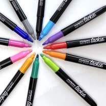 Tackie Markers : Smudge-Free Markers - Bullet-Tip Pens - For Dry-Erase White-Boards - Red, Orange, Purple, Cyan Blue, Lime Green, Black, Pink, Gold, Kelly Green, Royal Blue, Gray, Lavender   12-Pack