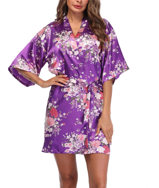 VOGTORY Women's Floral Satin Kimono Robes Short Silk Kimonos for Bridesmaid Wedding Party Gown Sleepwear