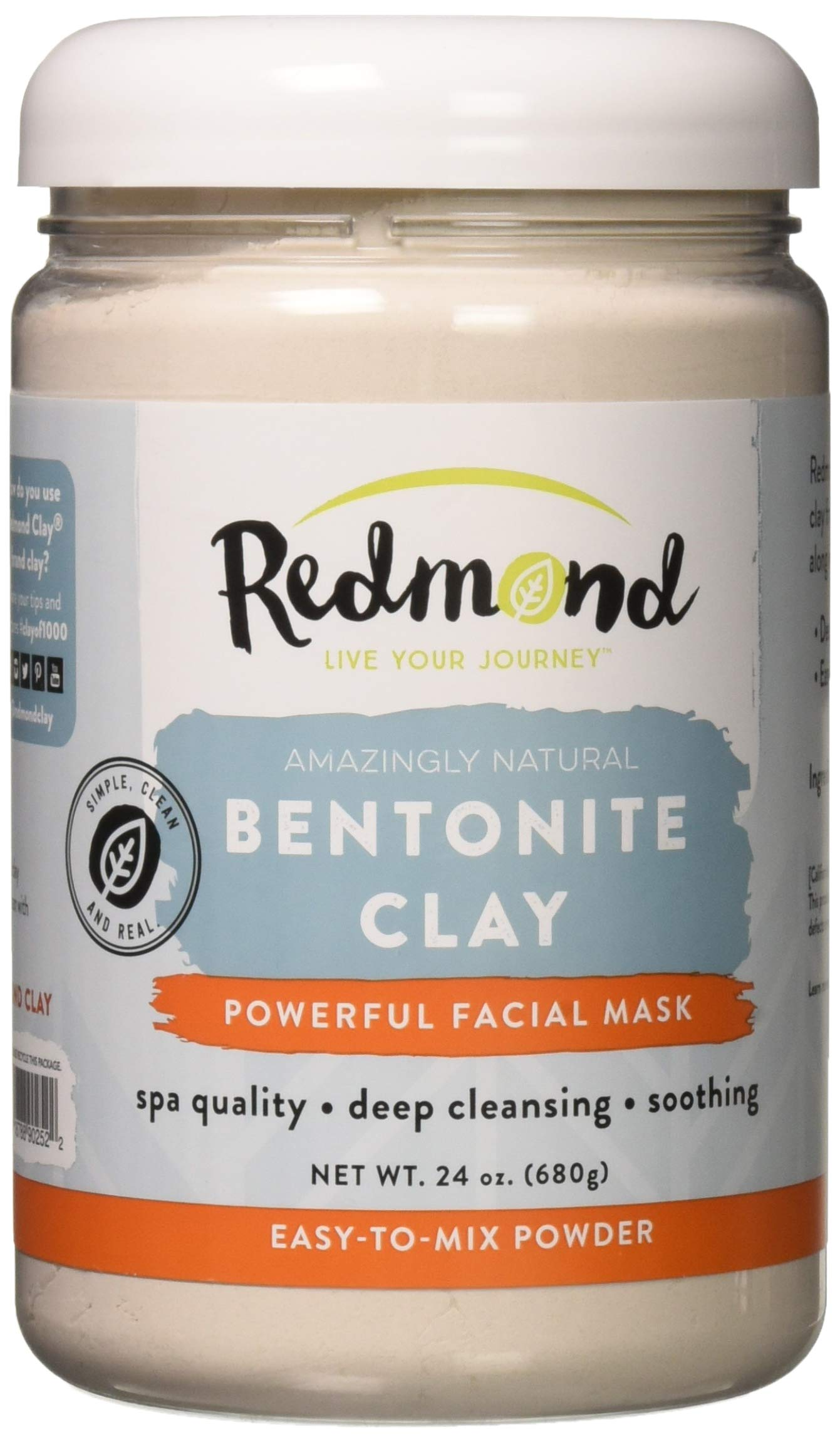 Redmond Clay - Bentonite Facial Mask , Soothing Mud Mask   Clay of 1000 Uses, 24 Ounce