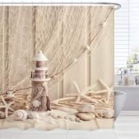 BROSHAN Nautical Seashell Shower Curtains, Coastal Fishing Net Marine Beach Theme Bath Curtain Starfish Fabric Bathroom Accessories Set with Hooks