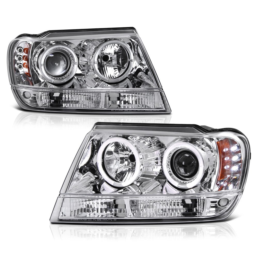 [For 1999-2004 Jeep Grand Cherokee] LED Halo Ring Chrome Housing Projector Headlight Headlamp Assembly, Driver & Passenger Side