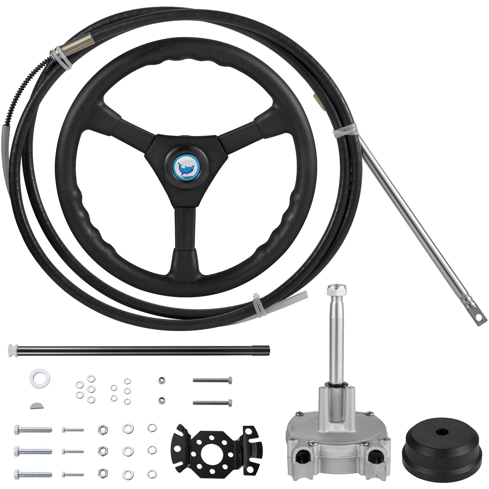 VEVOR Rotary Steering Kit 13 Feet Steering Cable Boat Steering System Outboard Steering Cable Kit with Rotary Helm, Steering Cable Complete Mechanical Steering System for Most Single Station Boats