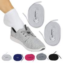 Vive No Tie Shoe Laces (Off-White Pair) - Elastic Lace Ups - Flat Replacement Shoelaces for Men, Women, Sports, Running, Adults, Kids, Tennis, Disabled, Elderly, Dress Assist - Long Stretch Bands
