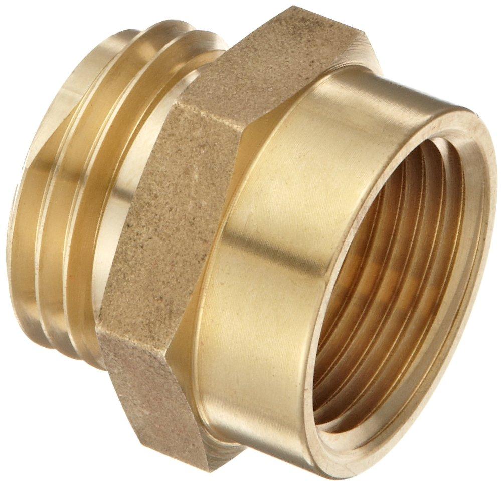 "Moon 357-1061021 Brass Fire Hose Adapter, Nipple, 1"" NPT Female x 1"" NH Male"