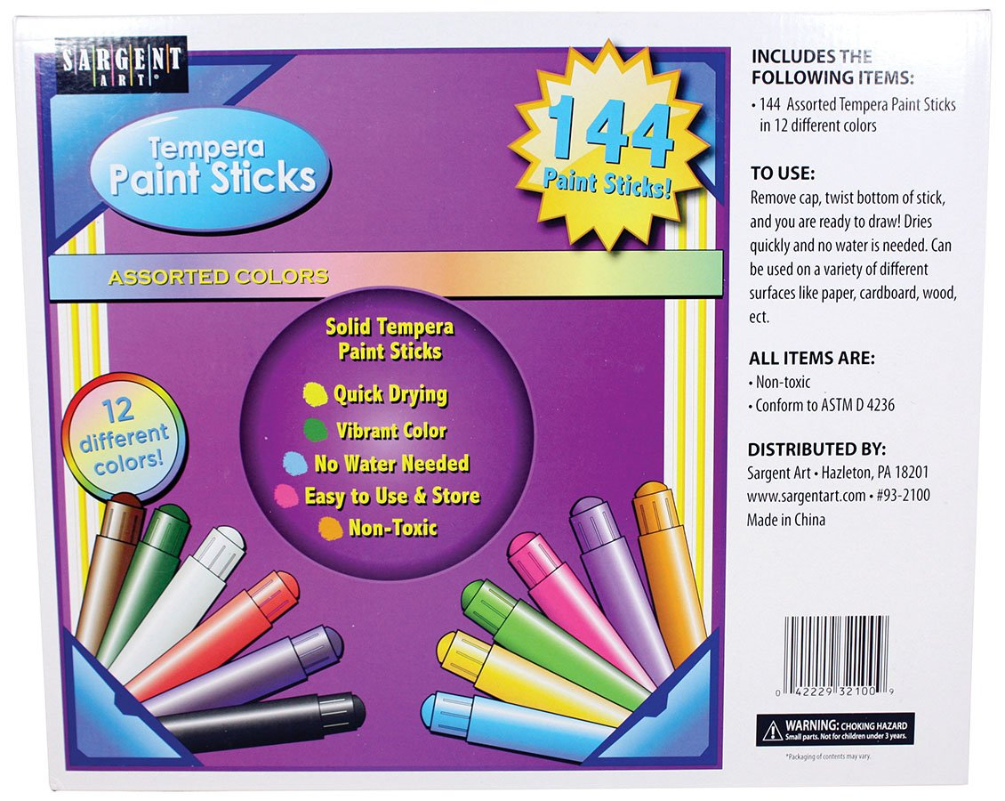 Sargent Art 93-2100 144 Assorted Tempera Paint Sticks, Classroom Set, 12 Different Colors, Quick Drying