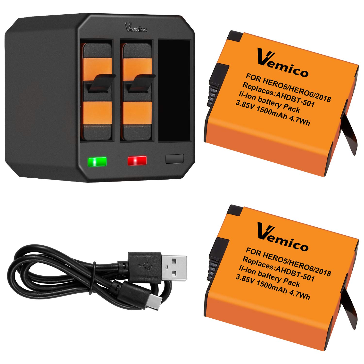 Vemico Battery Hero 7/6/5 1500mah Replacement Batteries (2 Pack) and 3-Channel LED Type C USB Charger for Hero 7 Black,Hero 6,Hero 5,Hero 2018, AHDBT-501(Fully Compatible with Original)