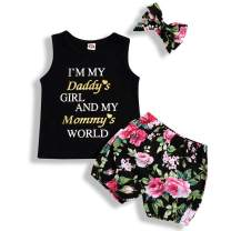 Toddler Baby Girl Outfits Set Daddy Mommy Print Sleeveless Top + Floral Tassel Shorts + Headband Clothes