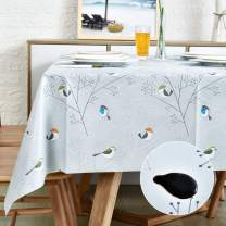 Vinyl Oilcloth Tablecloth Rectangle Wipeable Peva Waterproof PVC Heavy Duty Stainproof Spillproof Large Tablecloth Farm Thanksgiving Banquet BBQ Bird 9 ft 54 x 108 Inch