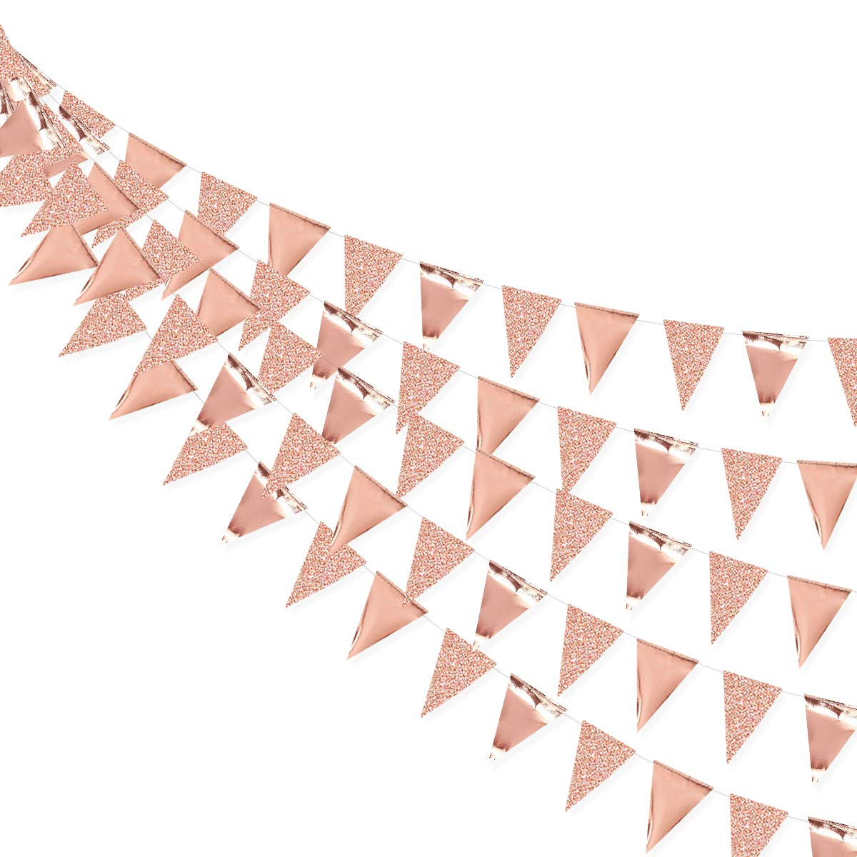 30 Ft Rose Gold Double Sided Glitter Metallic Paper Triangle Flag Pennant Bunting Banner for Wedding Birthday Holiday Festivals Anniversary Bridal Shower Hen Party Theme Party Decorations Supplies