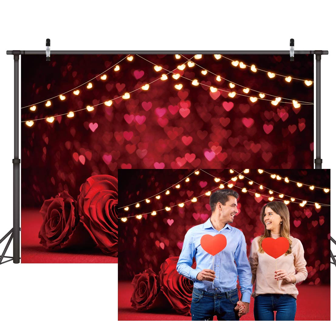 Dudaacvt 7x5ft Valentine Backdrop Red Rose Flower Love Hearts Photo Background Glitter Hearts Backdrops Rose Romantic Love Theme Photo Booth Backdrop D415