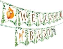 Woodland Welcome Baby Banner - Forest Animal Creatures Bunting Banner Garland for Woodland Baby Shower Gender Neutral Decorations