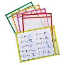 """Pacon Dry Erase Pockets, 5 Assorted Neon Colors, 9"""" x 12"""", 25 Pockets"""
