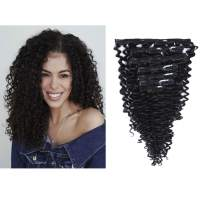 Loxxy Jerry Curly Clip in Hair Extensions 8A Grade Real Remy Human Hair Double Wefts Seamless Thick Fashion Natural Black Hair Full Head For African Americans 10-22inch 120g/set 18 inch