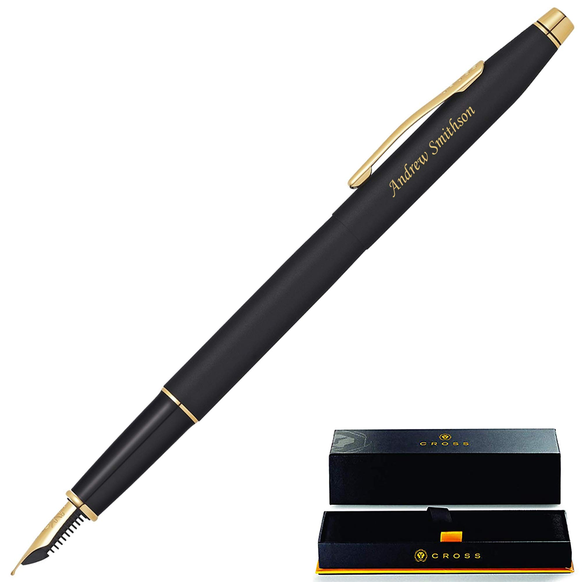 Cross Fountain Pen | Engraved/Personalized Cross Classic Century Black Fountain Pen with Gold Trim AT0086-110MF. Custom Engraved Fast!