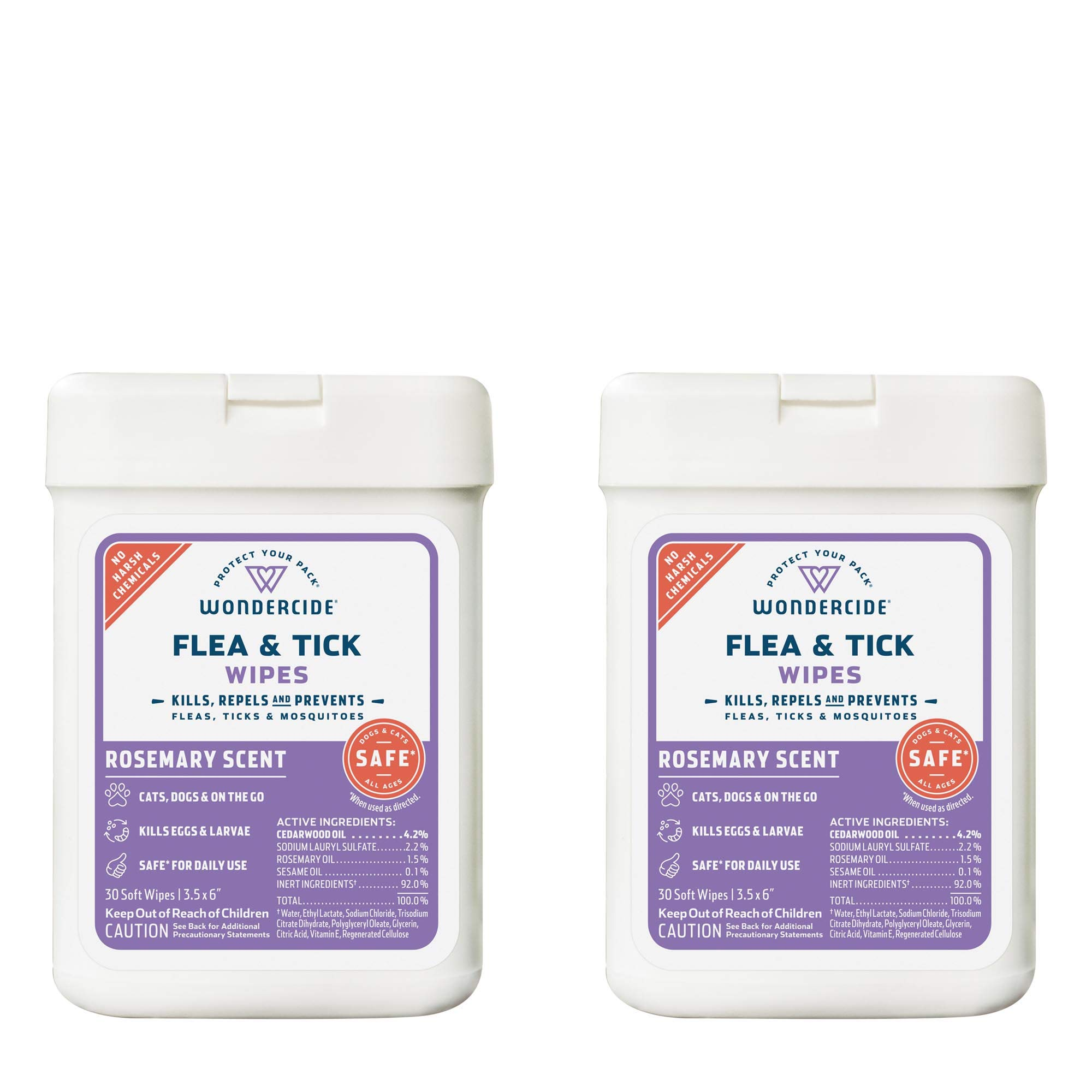 Wondercide Natural Flea, Tick and Mosquito Wipes for Dogs and Cats – Flea and Tick Killer, Treatment, Prevention – 2-Pack Rosemary