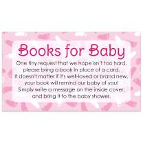 Books for Baby Request Cards - Girl Baby Shower Invitation Inserts - 20 Cards