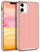 HoneyAKE Case for iPhone 11 Case Slim Protective Cover Anti Slip Hybrid Soft TPU Hard PC Bumper Raised Lips Rugged Shockproof Protection Shell for 6.1 inches iPhone 11 Rose Gold
