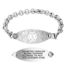 Divoti Custom Engraved Medical Alert Bracelets for Women, Stainless Steel Medical Bracelet, Medical ID Bracelet w/Free Engraving – Lovely Filigree Tag w/Textured Rolo – Color/Size