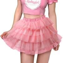 Littleforbig Women's Mesh Tulle Puffy Petticoat Tutu Ballet Bubble Short Ballerina Skirt