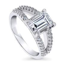 BERRICLE Rhodium Plated Sterling Silver Emerald Cut Cubic Zirconia CZ Solitaire Promise Engagement Split Shank Ring 2.9 CTW